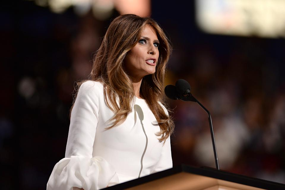 Melania Trump, wife of Presumptive Republican presidential nominee Donald Trump, addresses delegates on the opening day of the Republican National Convention at the Quicken Loans Arena in Cleveland, OH, on July 18, 2016. (Photo by Anthony Behar) *** Please Use Credit from Credit Field ***