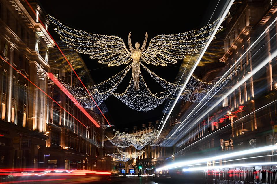 Christmas lights in central London, as England continues a four week national lockdown to curb the spread of coronavirus. (Photo: PA)
