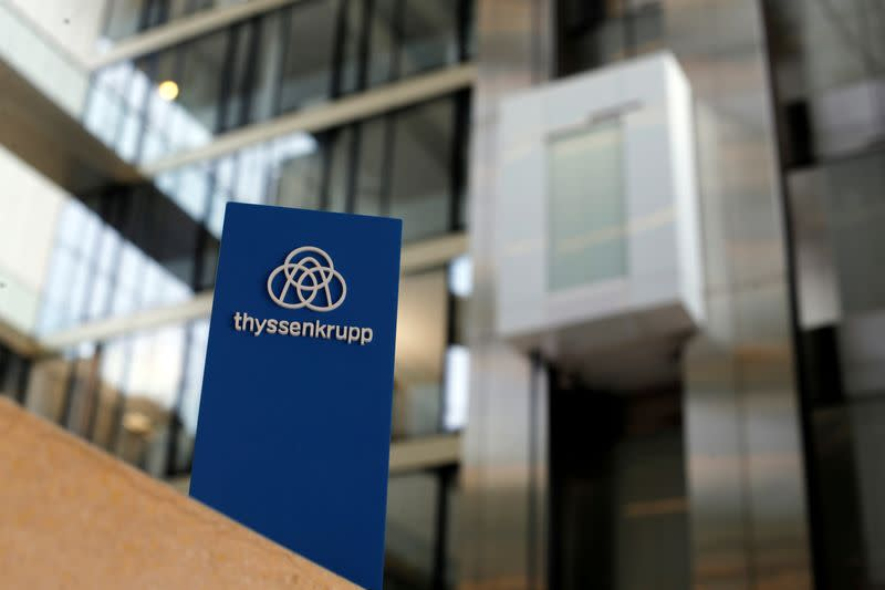 FILE PHOTO: The logo of Thyssenkrupp is seen near elevators in its headquarters in Essen