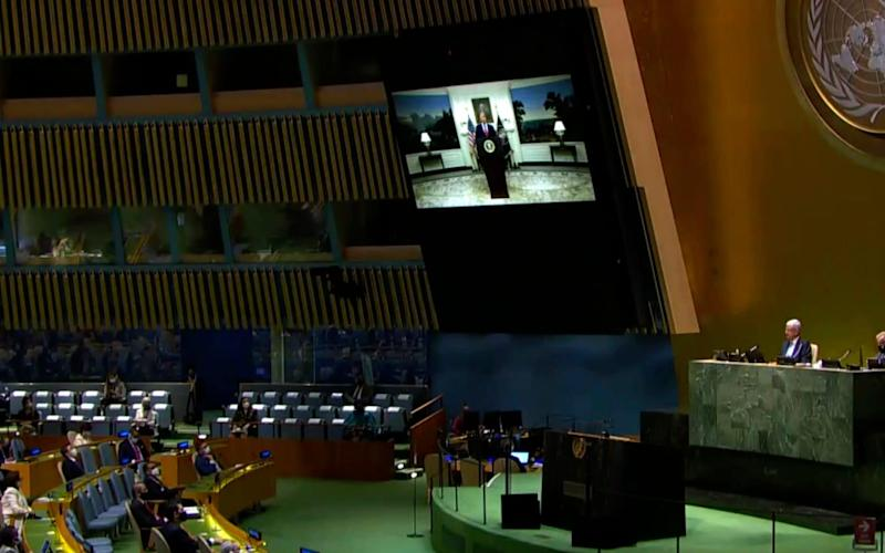 US President Donald Trump speaks in a pre-recorded message played to the General Assembly  - UNTV via AP