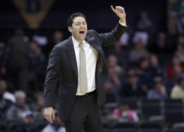 Vanderbilt head coach Bryce Drew yells to his players in the second half of an NCAA college basketball game against Alcorn State Friday, Nov. 16, 2018, in Nashville, Tenn. Vanderbilt won 79-54. (AP Photo/Mark Humphrey)