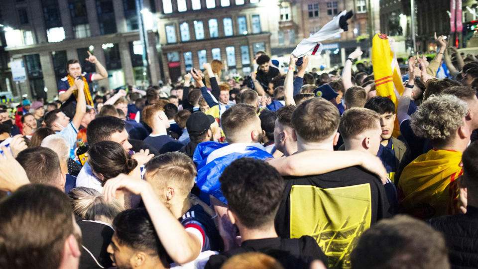 Scotland fans, pictured here gathering in George Square after their Euro 2020 win over Croatia.
