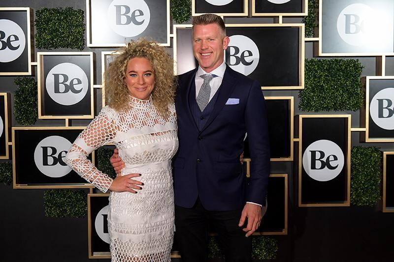 Be's Ash Pollard and Scott Gooding attend the launch party in Sydney.