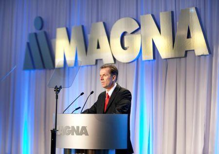 FILE PHOTO - Magna International Inc. CEO Walker speaks to shareholders at the company's annual general meeting in Toronto