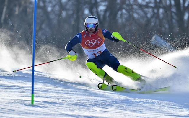 Britain's Dave Ryding competing in the Men's Slalom - AFP