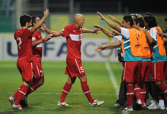 Turkey celebrates after Jonas Ramalho from Spain scored 1-0 for Turkey during football final tournament of UEFA European Under-19 Championship 2010/2011 in Chiajna village next to Bucharest July 26, 2011. AFP PHOTO/DANIEL MIHAILESCU (Photo credit should read DANIEL MIHAILESCU/AFP/Getty Images)