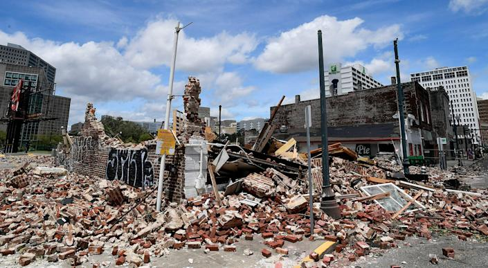 A collapsed jazz shop located at 427 S. Rampart in New Orleans on Monday, Aug. 30, 2021, is seen after Hurricane Ida came ashore in Louisiana on Sunday, Aug. 29, 2021.