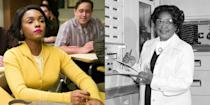 """<p>Jackson's the third women in <em>Hidden Figures</em> known for her impeccable engineering skills at NASA. Monáe says she was """"<a href=""""http://abcnews.go.com/Entertainment/im-honored-janelle-monae-playing-nasas-black-woman/story?id=45608852"""" rel=""""nofollow noopener"""" target=""""_blank"""" data-ylk=""""slk:honored"""" class=""""link rapid-noclick-resp"""">honored</a>"""" to play the role of Jackson. </p>"""