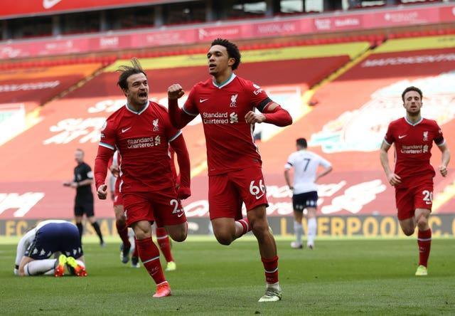 Trent Alexander-Arnold struck late on to hand Liverpool victory against Aston Villa last weekend (Clive Brunskill/PA)