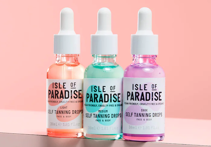 Isle of Paradise Self Tanning Drops are the safe way to get a bronzed summer look. Image via Sephora.