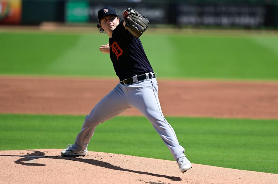 Casey Mize throws a pitch during the first inning against the Pittsburgh Pirates during a spring training game at LECOM Park on March 2, 2021, in Bradenton, Florida.
