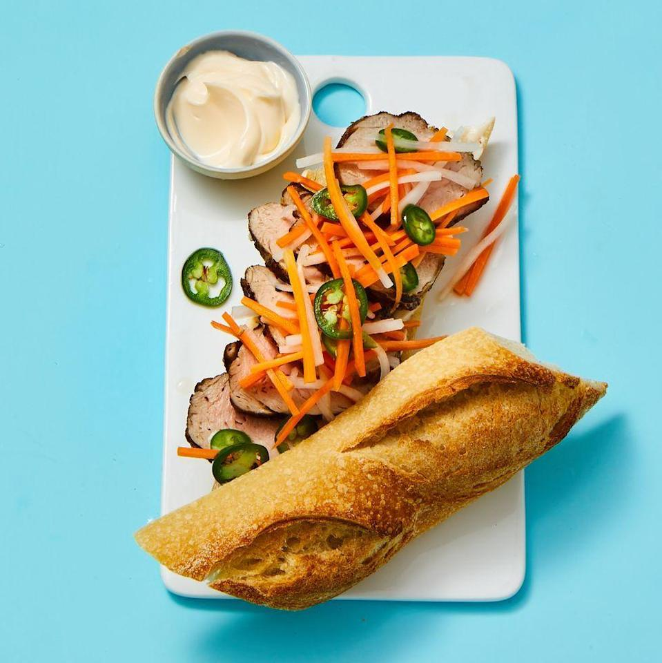"<p>When in doubt, put out a pile of these slightly spicy Vietnamese-inspired sandwiches. You can never go wrong.</p><p><em><a href=""https://www.goodhousekeeping.com/food-recipes/a37306/spicy-banh-mi-sandwiches-recipe/"" rel=""nofollow noopener"" target=""_blank"" data-ylk=""slk:Get the recipe for Spicy Bánh Mì Sandwiches »"" class=""link rapid-noclick-resp"">Get the recipe for Spicy Bánh Mì Sandwiches »</a></em></p>"