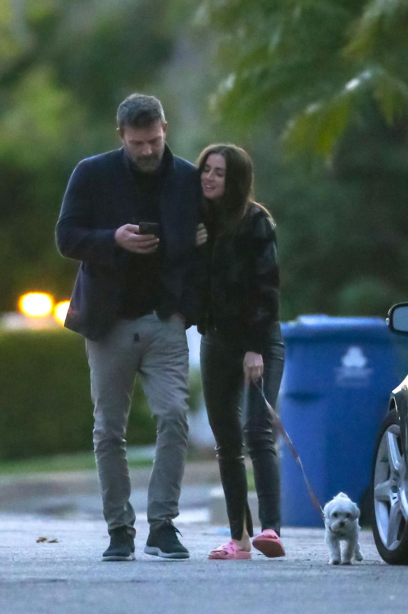Ben Affleck and Ana de Armas take a stroll through his Brentwood neighborhood.