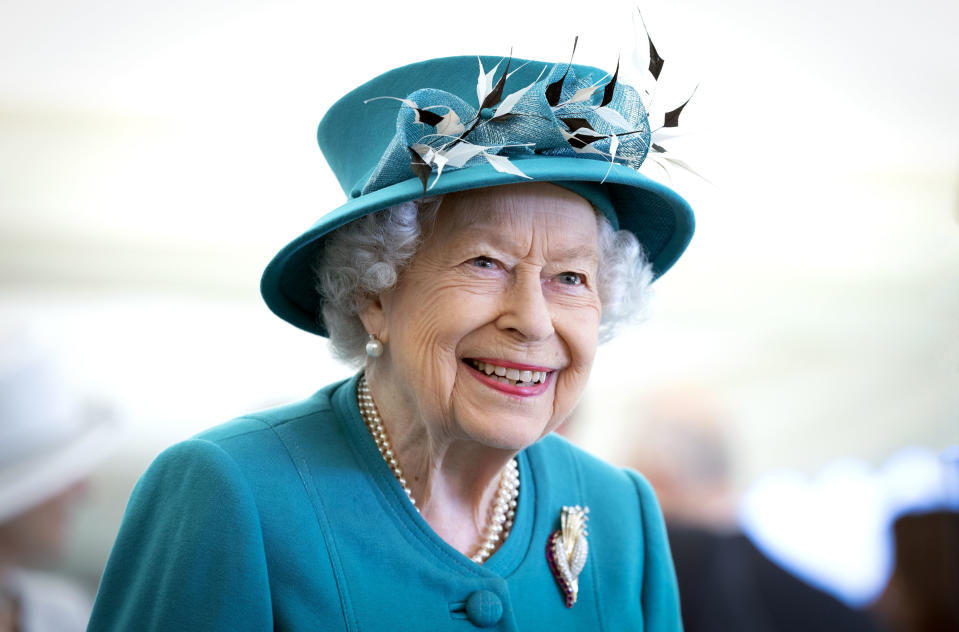 EDINBURGH, SCOTLAND - JULY 01: Queen Elizabeth II smiles during a visit to the Edinburgh Climate Change Institute, as part of her traditional trip to Scotland for Holyrood Week on July 1, 2021 in Edinburgh, Scotland. (Photo by Jane Barlow - WPA Pool/Getty Images)