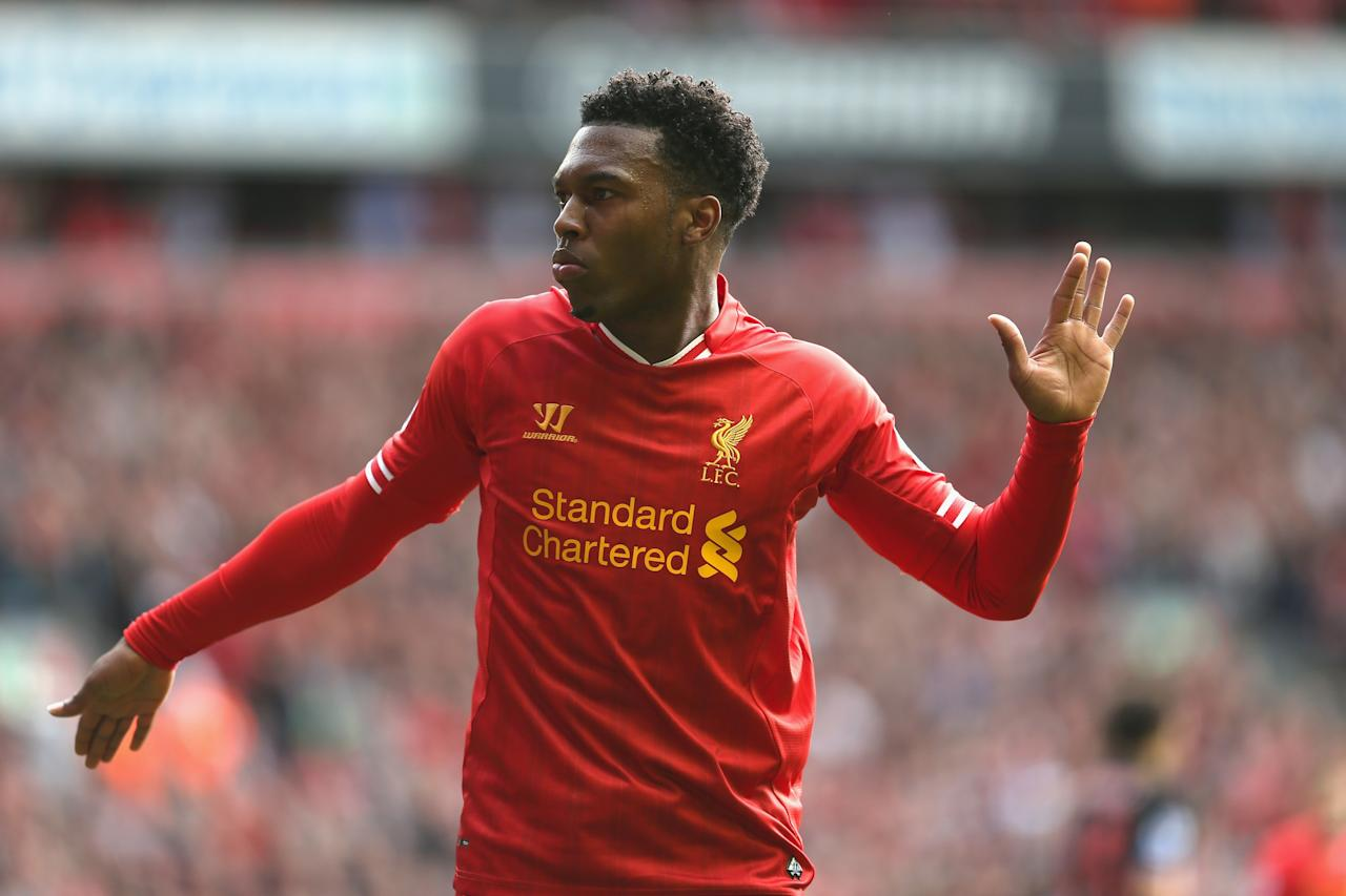 LIVERPOOL, ENGLAND - OCTOBER 05: Daniel Sturridge of Liverpool celebrates after scoring the second goal during the Barclays Premier League match between Liverpool and Crystal Palace at Anfield on October 5, 2013 in Liverpool, England. (Photo by Clive Brunskill/Getty Images)