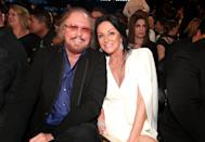 LOS ANGELES, CA - FEBRUARY 12: Musician/Producer Barry Gibb and Linda Gray Gibb during The 59th GRAMMY Awards at STAPLES Center on February 12, 2017 in Los Angeles, California. (Photo by Christopher Polk/Getty Images for NARAS)