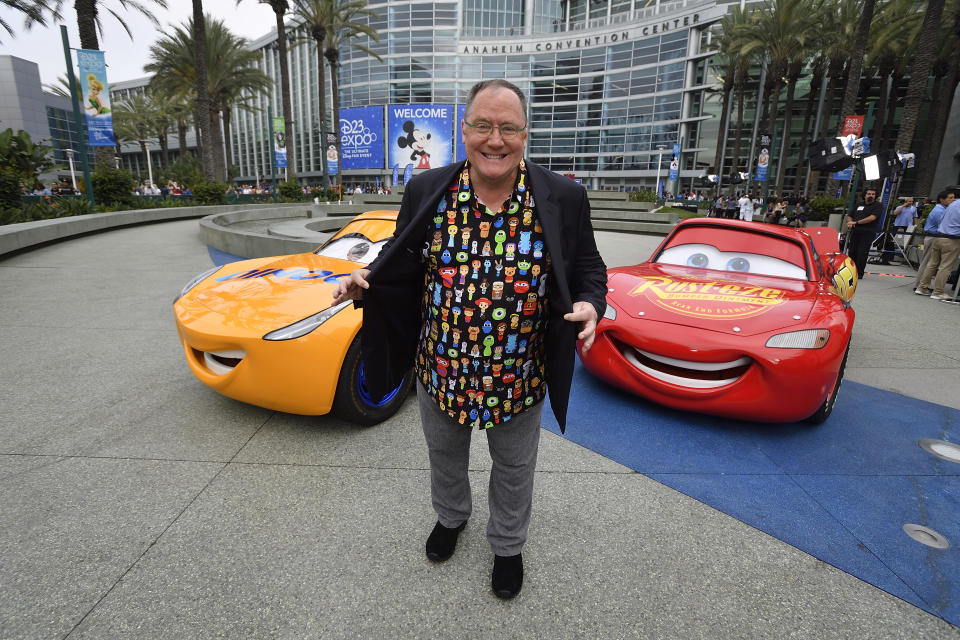 ANAHEIM, CA - JULY 14: John Lasseter,  the chief creative officer of Pixar Animation Studios, Walt Disney Animation Studios, and DisneyToon Studios, shows off a shirt that has at least one character from every Pixar movie he has worked on outside D23 Expo in Anaheim, on Friday, July 14, 2017.     (Photo by Jeff Gritchen/Digital First Media/Orange County Register via Getty Images)