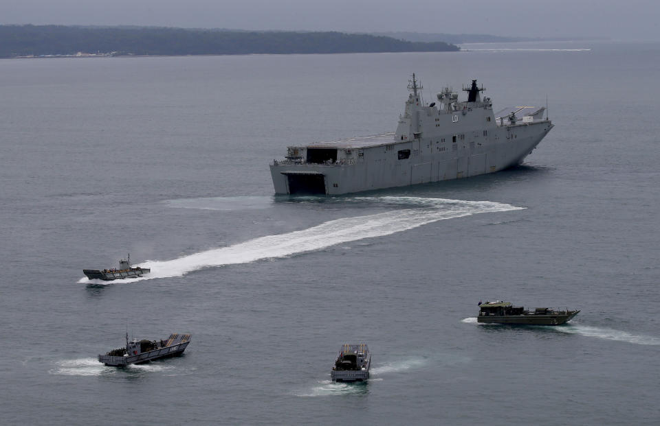 The Royal Australian Navy HMAS Adelaide dislodges landing crafts with Philippine Marines and Australian troops as they conduct a joint Humanitarian Aid and Disaster Relief exercise in 2017. Source: AAP