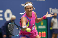 Victoria Azarenka, of Belarus, returns a shot to Naomi Osaka, of Japan, during the women's singles final of the US Open tennis championships, Saturday, Sept. 12, 2020, in New York. (AP Photo/Seth Wenig)