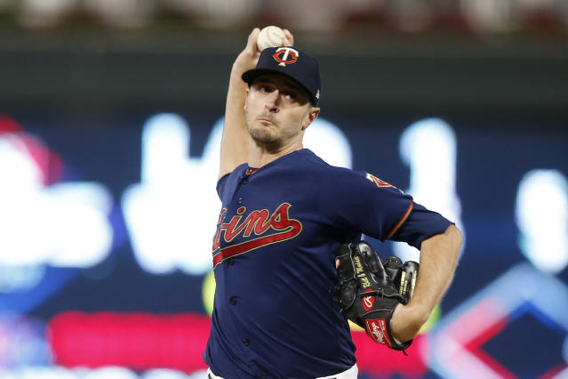 Minnesota Twins starting pitcher Jake Odorizzi throws during the first inning in Game 3 of a baseball American League Division Series against the New York Yankees, Monday, Oct. 7, 2019, in Minneapolis. (AP Photo/Jim Mone)