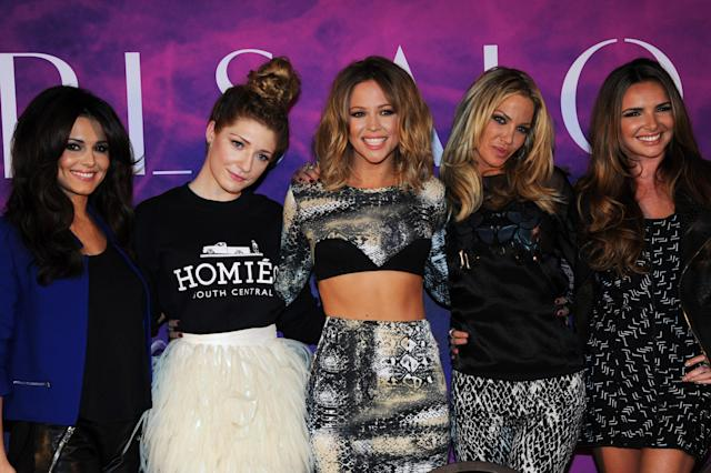(L-R) Cheryl Cole, Nicola Roberts, Kimberley Walsh, Sarah Harding and Nadine Coyle of Girls Aloud pose at a press conference to announce 'Girls Aloud Ten, The Hits Tour 2013' at The Corinthia Hotel on October 19, 2012 in London, England. (Photo by Dave J Hogan/Getty Images)