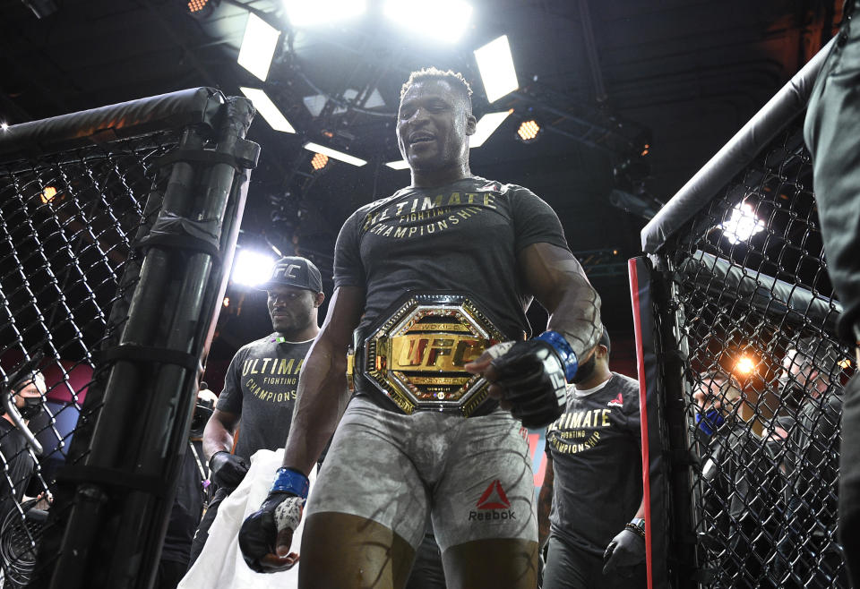 LAS VEGAS, NEVADA - MARCH 27: Francis Ngannou of Cameroon reacts after his victory over Stipe Miocic in their UFC heavyweight championship fight during the UFC 260 event at UFC APEX on March 27, 2021 in Las Vegas, Nevada. (Photo by Chris Unger/Zuffa LLC)