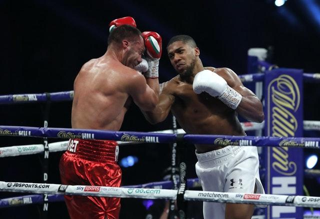 Anthony Joshua, right, defeated Kubrat Pulev last weekend to retain his WBA, IBF and WBO heavyweight titles (Andrew Couldridge/PA)