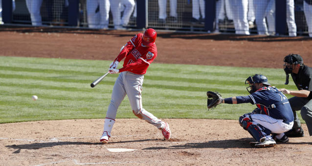 Los Angeles Angels' Shohei Ohtani hits a single during the fifth inning of a spring training baseball game against the San Diego Padres, Monday, Feb. 26, 2018, in Peoria, Ariz. (AP Photo/Charlie Neibergall)