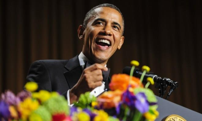 President Obama tells jokes during the White House Correspondents' Association Dinner on April 27.