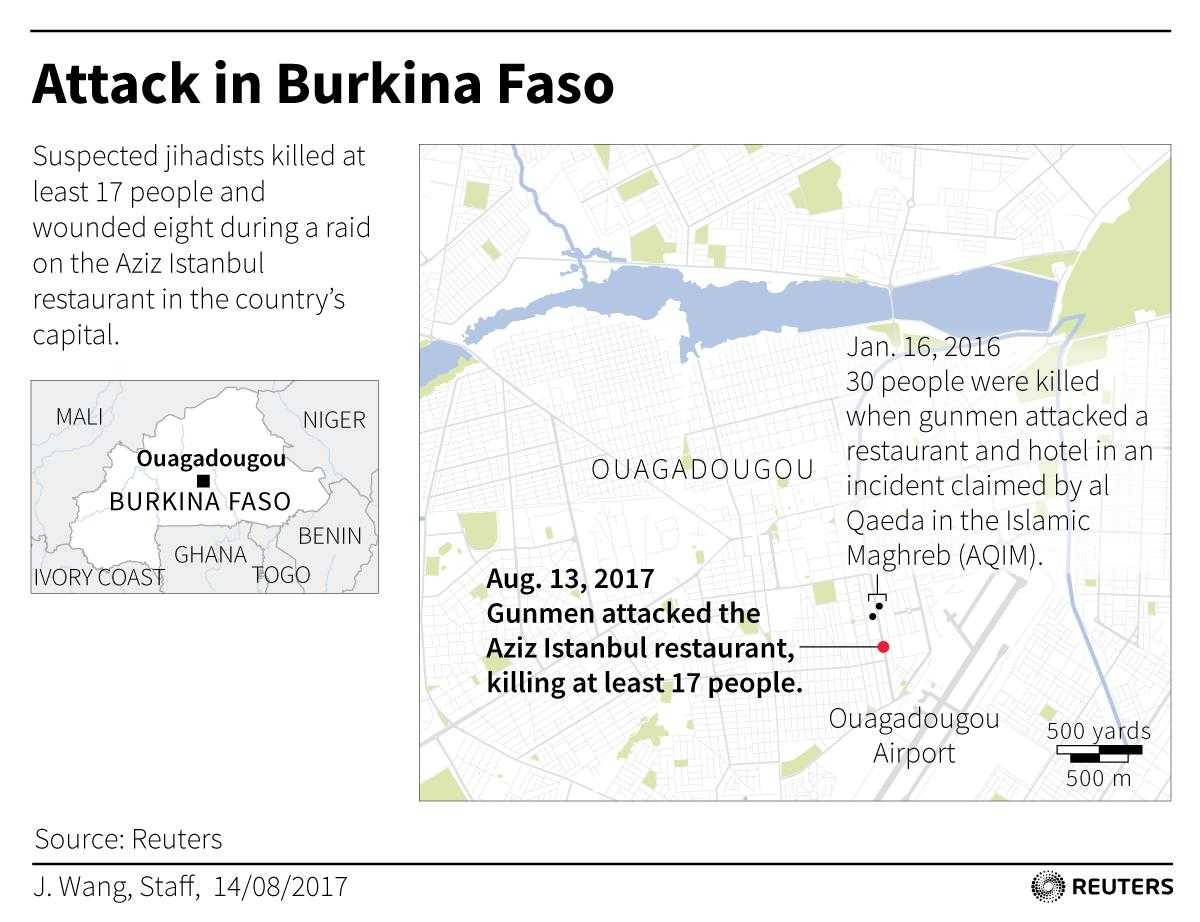<p>Map locating attack in Burkina Faso's capital. (Reuters) </p>