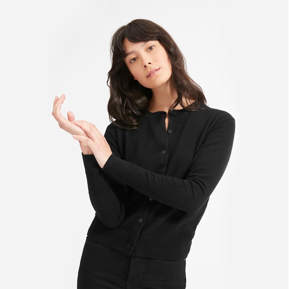 The Cashmere Crew Cardigan. Image via Everlane.