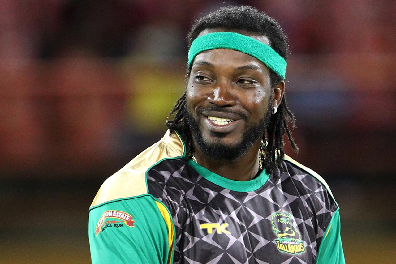 PROVIDENCE, GUYANA - AUGUST 02: Jamaica Tallawah's Chris Gayle during the Fourth Match of the Cricket Caribbean Premier League between Guyana Amazon Warriors v Jamaica Tallawahs at Providence Stadium on August 2, 2013 in Providence, Guyana. (Photo by Ashley Allen/Getty Images Latin America for CPL)