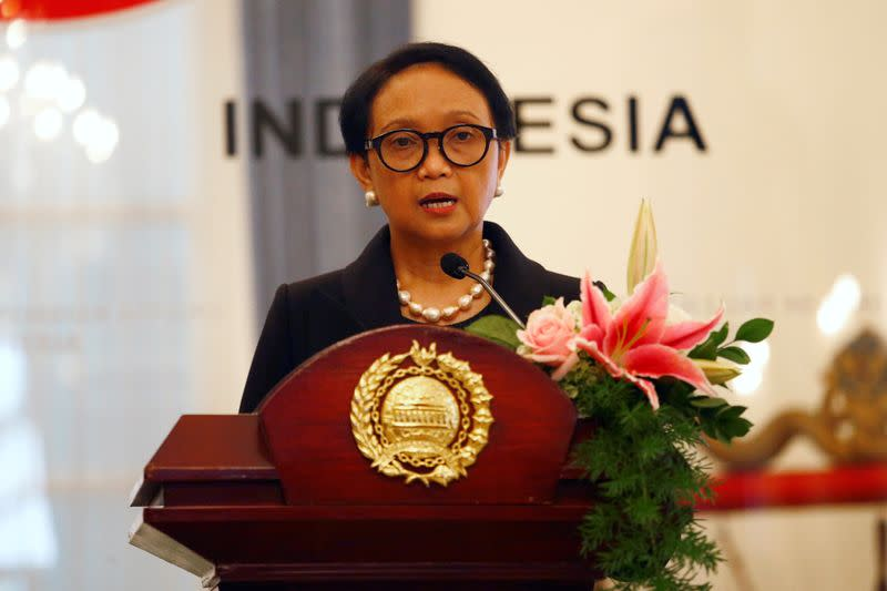 FILE PHOTO: Indonesia's Foreign Minister Retno Marsudi delivers her speech during a press briefing with Japanese Foreign Minister Toshimitsu Motegi in Jakarta, Indonesia