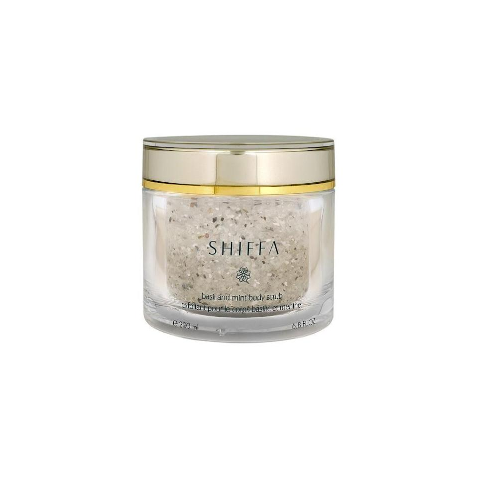 """<p>""""I truly can't live without this <span>Shiffa Basil and Mint Body Scrub</span> ($95). It contains exfoliating Dead Sea salt mixed with hydrating sweet almond oil and the most intoxicatingly scented basil oil. The scrub leaves my skin flake-free and my bathroom smelling like a spa for hours. At $95, it's definitely a splurge, so it's not something I'd buy myself, but it's at the top of my wish list year after year."""" - LU</p>"""