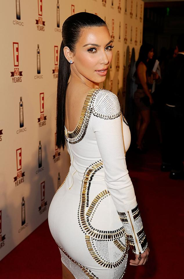 """In an interview for ABC News' """"Nightline"""" Kim Kardashian, who showed off her best assets on the red carpet at the E! 20th anniversary party, denied she'd ever had plastic surgery, but did admit to getting a few hits of Botox. As for her famous chest? That's all natural, confirmed Kim. Michael Caulfield/<a href=""""http://www.wireimage.com"""" target=""""new"""">WireImage.com</a> - May 24, 2010"""