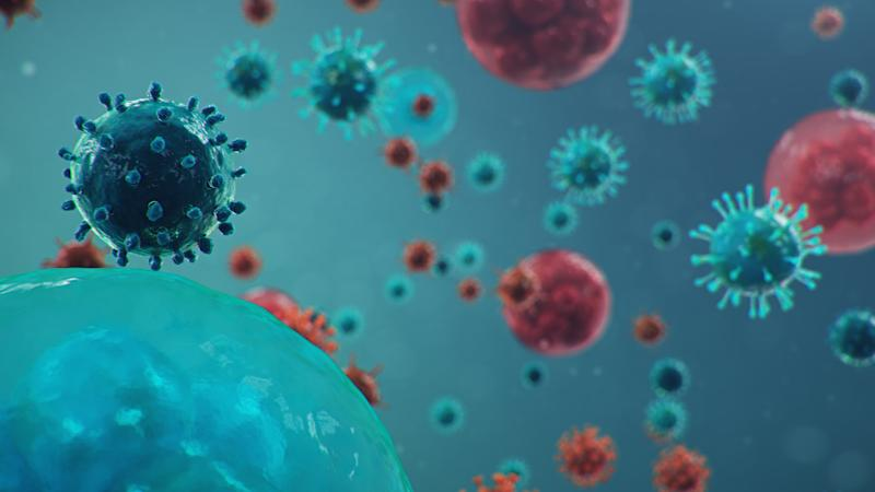 Outbreak of Chinese influenza - called a Coronavirus or 2019-nCoV, which has spread around the world. Danger of a pandemic, epidemic of humanity. Human cells, the virus infects cells. 3d illustration