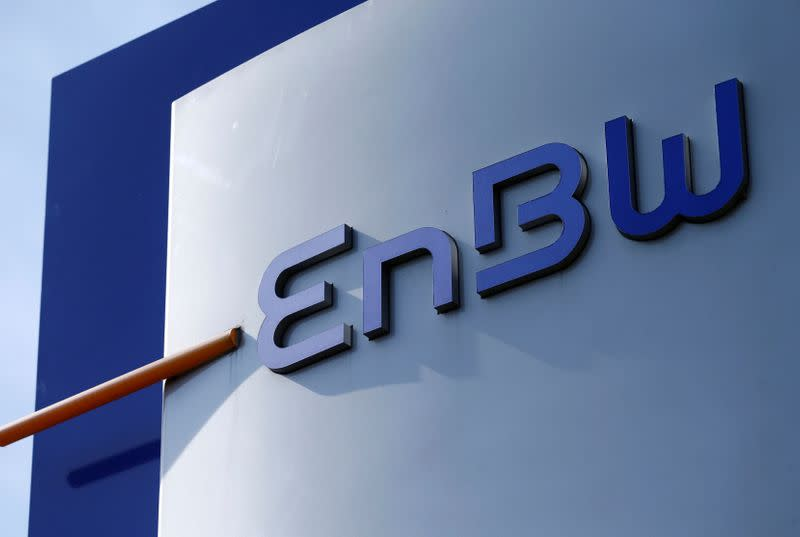 A logo of German power supplier EnBW Energie Baden-Wuertemberg AG is pictured at the companies headquarters in Karlsruhe