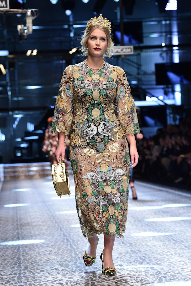 Kitty Spencer walks the runway at the Dolce & Gabbana show during Milan Fashion Week on Feb. 26 in Milan, Italy.  (Jacopo Raule via Getty Images)