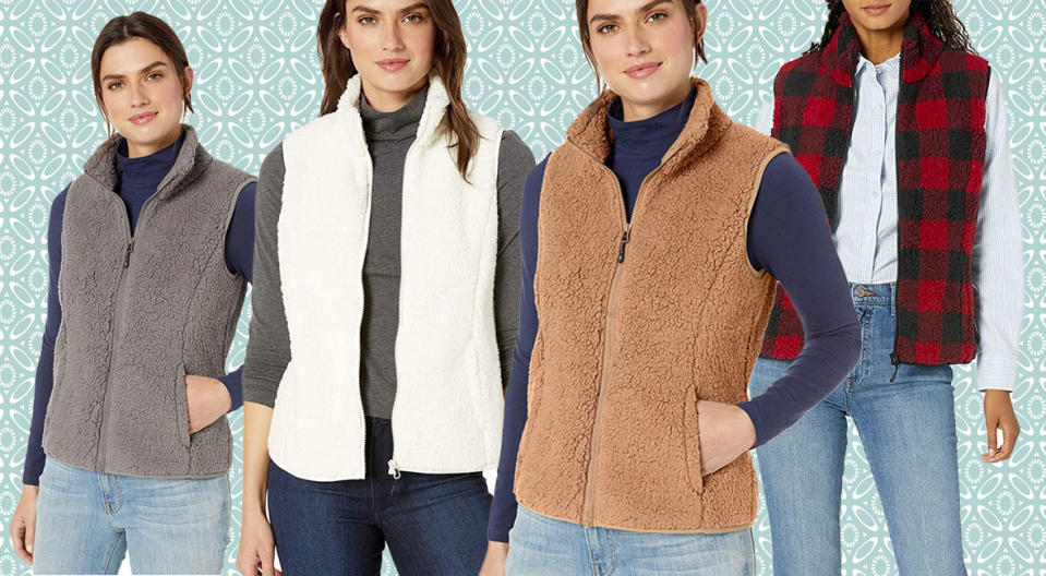 The Amazon Essentials Polar Fleece Lined Sherpa Vest is so cozy you'll never take it off. (Photo: Amazon)