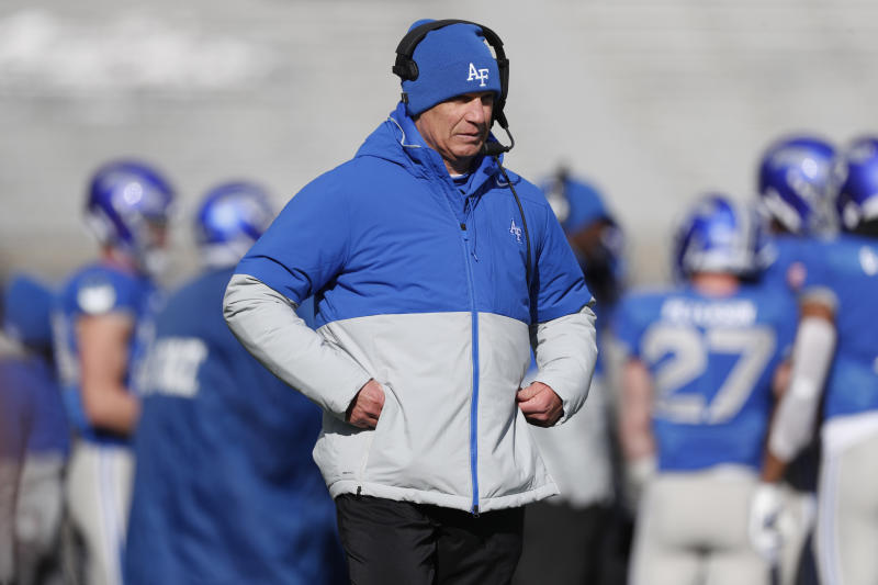 Air Force head coach Troy Calhoun directs his team in the first half of an NCAA college football game against Wyoming Saturday, Nov. 30, 2019, at Air Force Academy, Colo. (AP Photo/David Zalubowski)