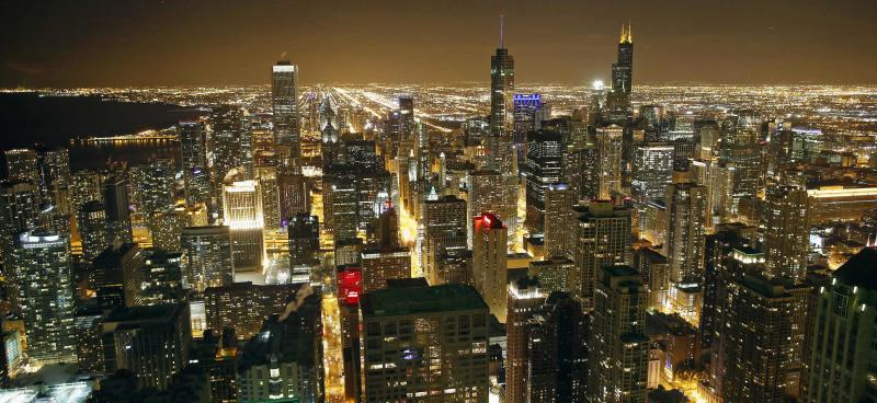 General view of city skyline in Chicago