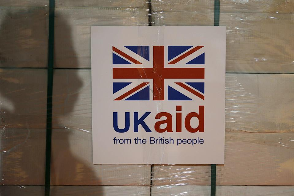 A UK aid label is attached to a box containing kitchen sets (Stefan Wermuth/PA) (PA Wire)