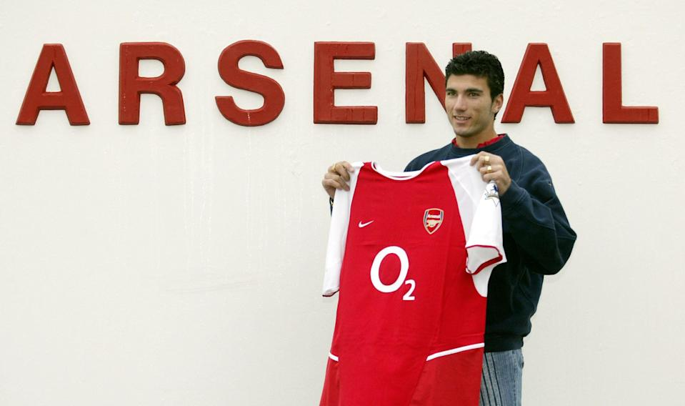 Jose Antonio Reyes the Spanish International striker, who signed for Premier League leaders Arsenal, with a club shirt at the club's training ground at London Colney in Hertfordshire.   (Photo by John Stillwell - PA Images/PA Images via Getty Images)