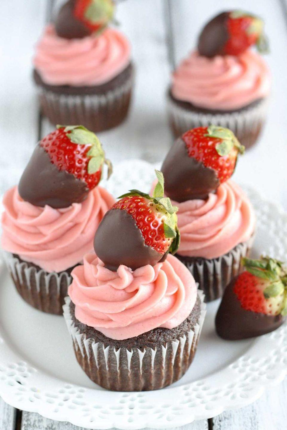 "<p><span class=""redactor-invisible-space"">Add the chocolate covered strawberries on top if you're feeling super romantic. </span><br></p><p><strong>Get the recipe at <a href=""http://www.livewellbakeoften.com/2016/02/01/chocolate-covered-strawberry-cupcakes/"" rel=""nofollow noopener"" target=""_blank"" data-ylk=""slk:Live Well Bake Often"" class=""link rapid-noclick-resp"">Live Well Bake Often</a>. </strong></p>"