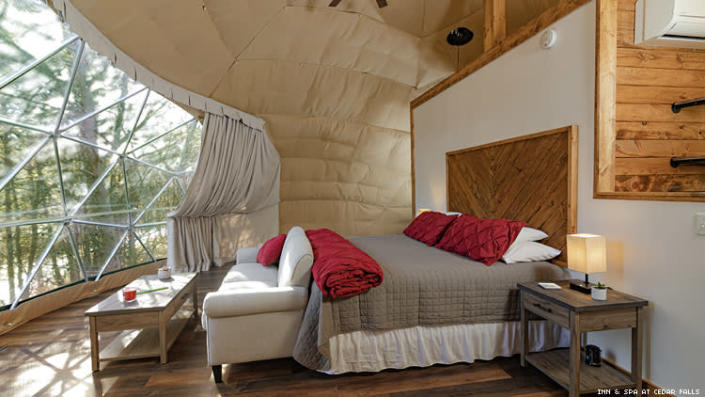 Bedroom of Geodesic Dome at Inn & Space at Cedar Falls