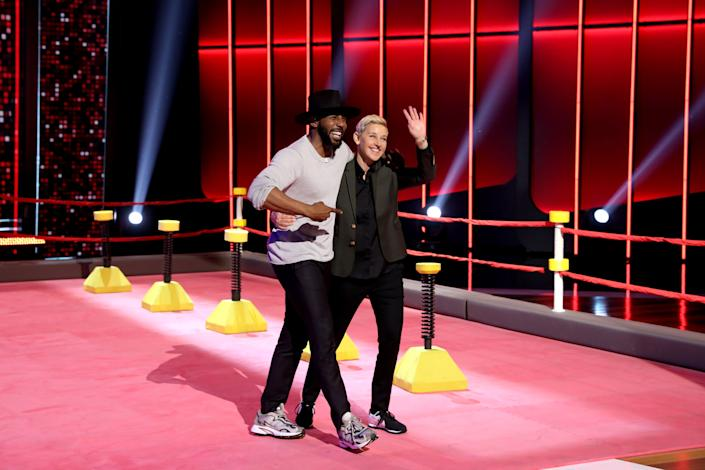"""Stephen """"tWitch"""" Boss and Ellen DeGeneres pictured together on """"Ellen's Game of Games."""" (Photo: NBC via Getty Images)"""