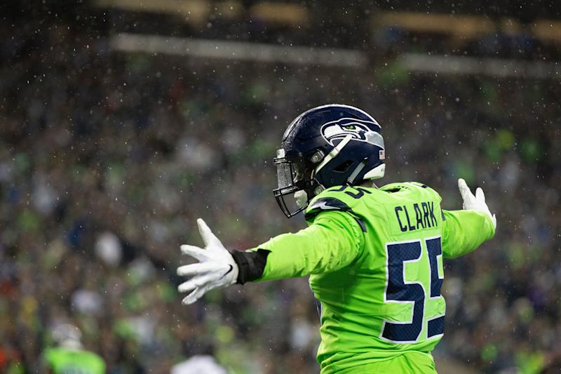 SEATTLE, WA - DECEMBER 10: Seattle Seahawks defensive end Frank Clark (55) celebrates in the second quarter during a game between the Minnesota Vikings and the Seattle Seahawks on Monday, December 10, 2018 at CenturyLink Field in Seattle, WA. (Photo by Christopher Mast/Icon Sportswire via Getty Images)