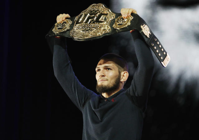 Khabib Nurmagomedov will remain with the UFC after criticizing the company in an Instagram post last week. (AP Photo)