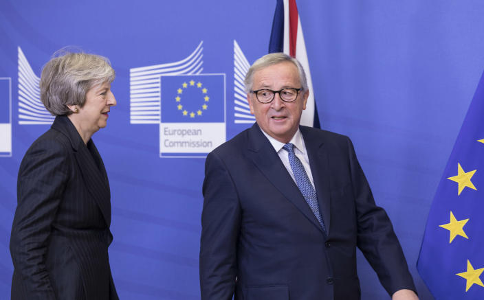 Prime minister Theresa May and EU commission president Jean-Claude Juncker (Getty)