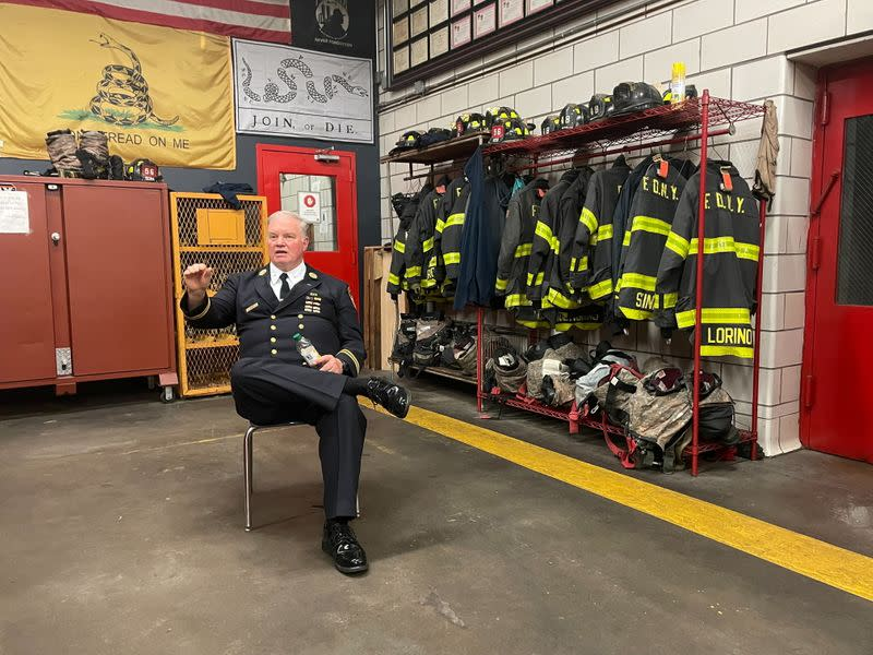 NYFD deputy chief Jonas attends an interview with Reuters at a fire station in the Bronx